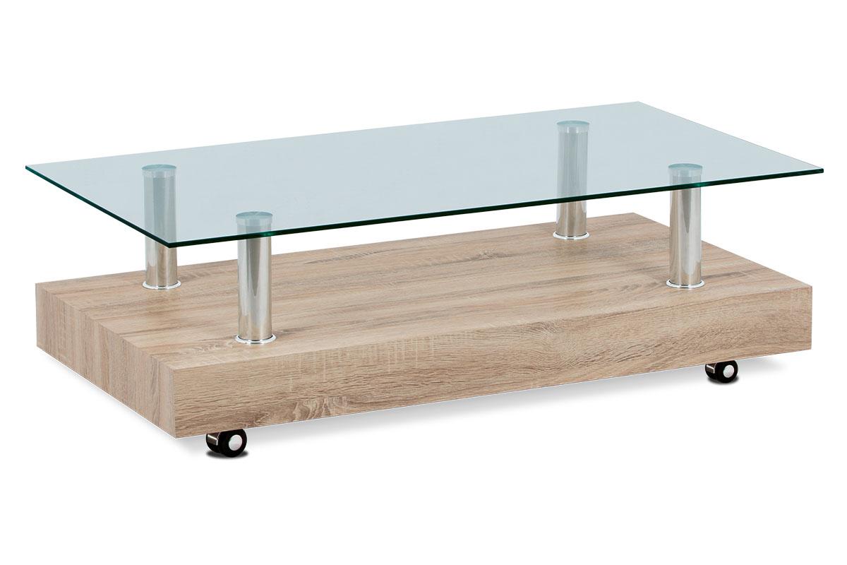 Autronic - Konferenční stolek 110×60×35, dekor dub sonoma / sklo čiré - AF-2032 SON
