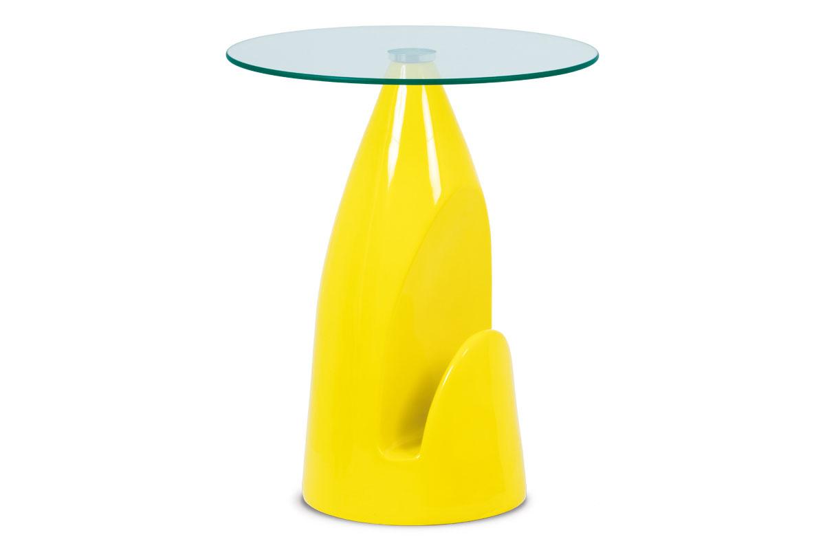 Autronic - Odkládací stolek, čiré sklo / vysoký lesk žlutý - AF-2063 YEL