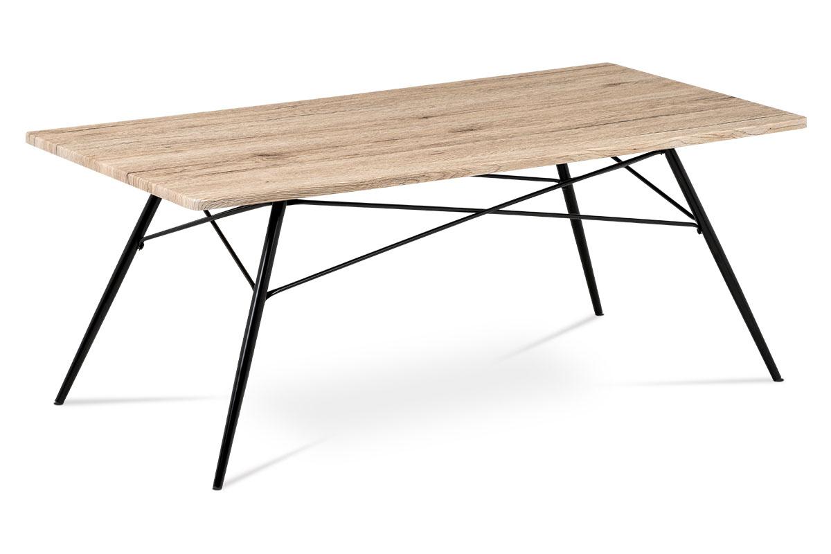 Autronic - Konferenční stolek 122x61x49, MDF dub San Remo, kov černý mat - AF-2070 SRE