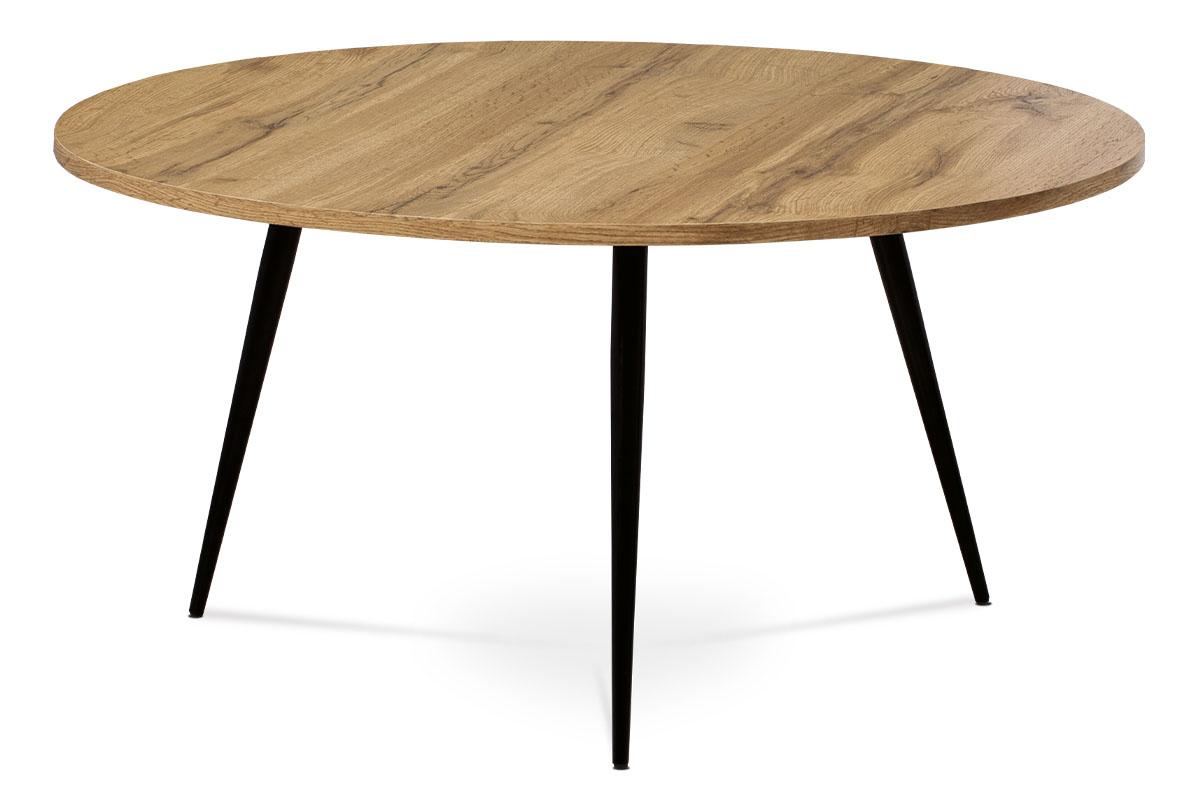 Autronic - Konferenční stolek, MDF, dekor divoký dub, kov, černý lak - AF-3004 OAK
