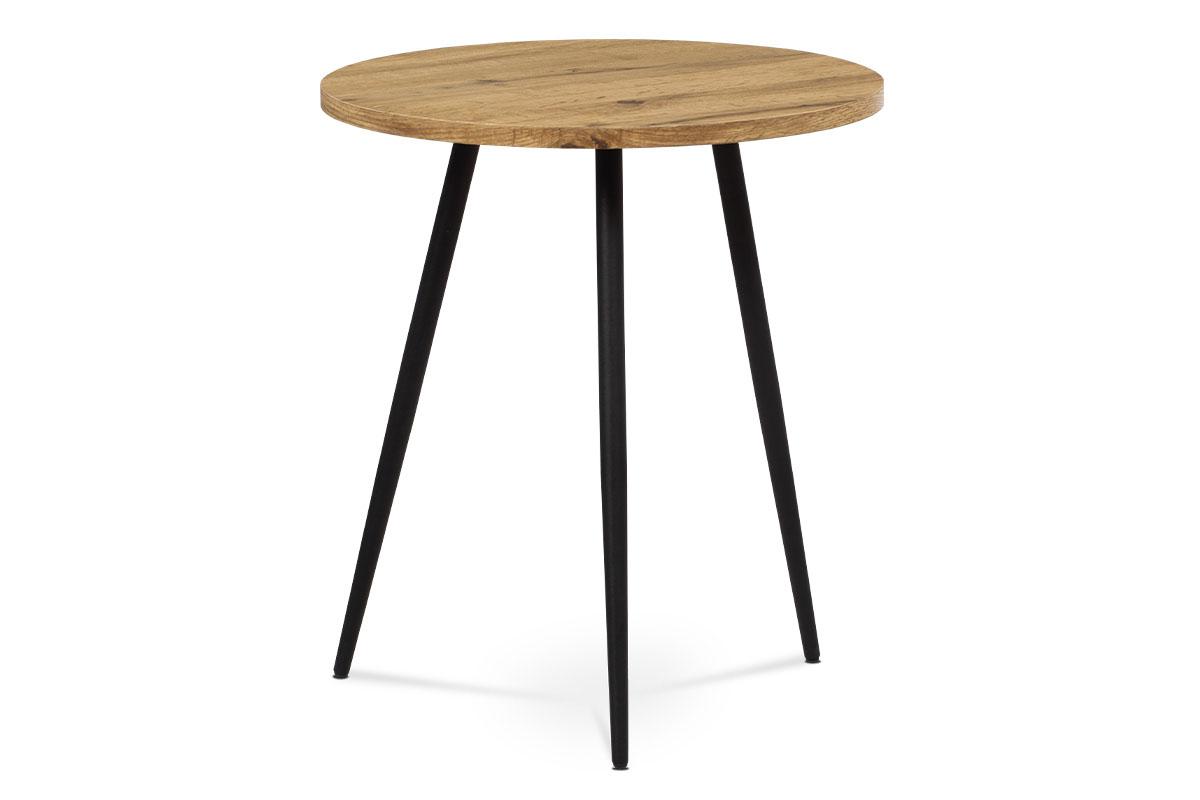 Autronic - Přístavný stolek, MDF, dekor divoký dub, kov, černý lak - AF-3005 OAK