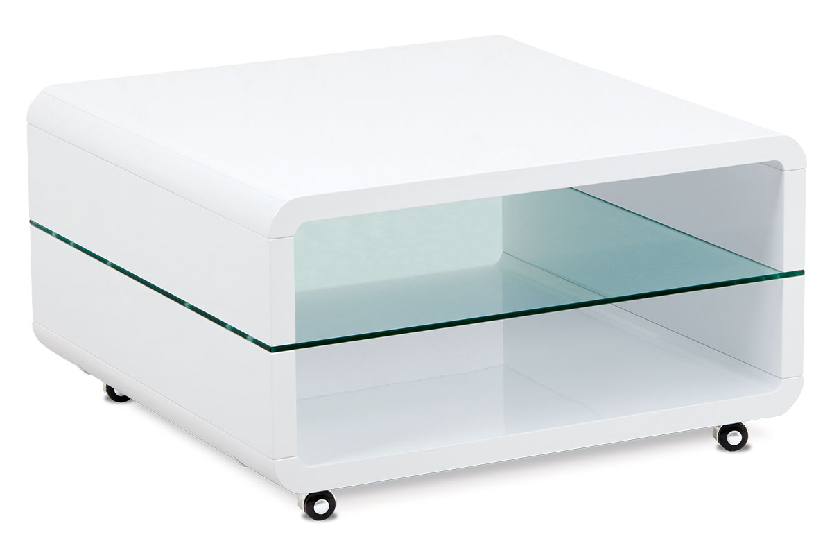 Autronic - (AHG-615 WT) Konferenční stolek 80x80x45 cm, vysoký lesk bílý / čiré sklo 8 mm - AHG-015 WT