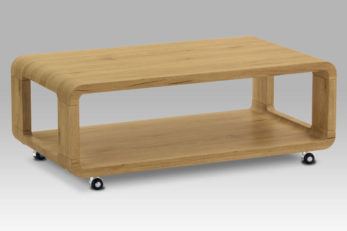 Autronic - Konferenční stolek 105x60x38, MDF divoký dub, 4 kolečka - AHG-126 OAK