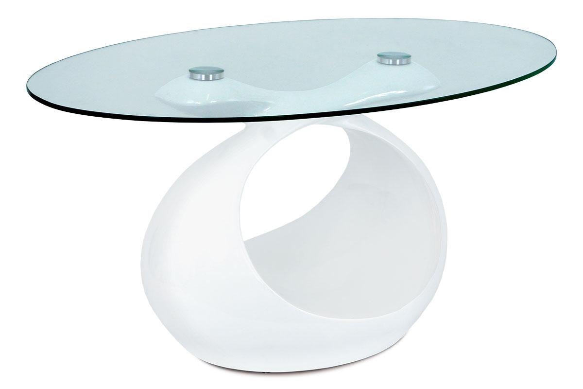 Autronic - Konferenční stolek 90x55x44 cm, vysoký lesk bílý / čiré sklo - AHG-226 WT