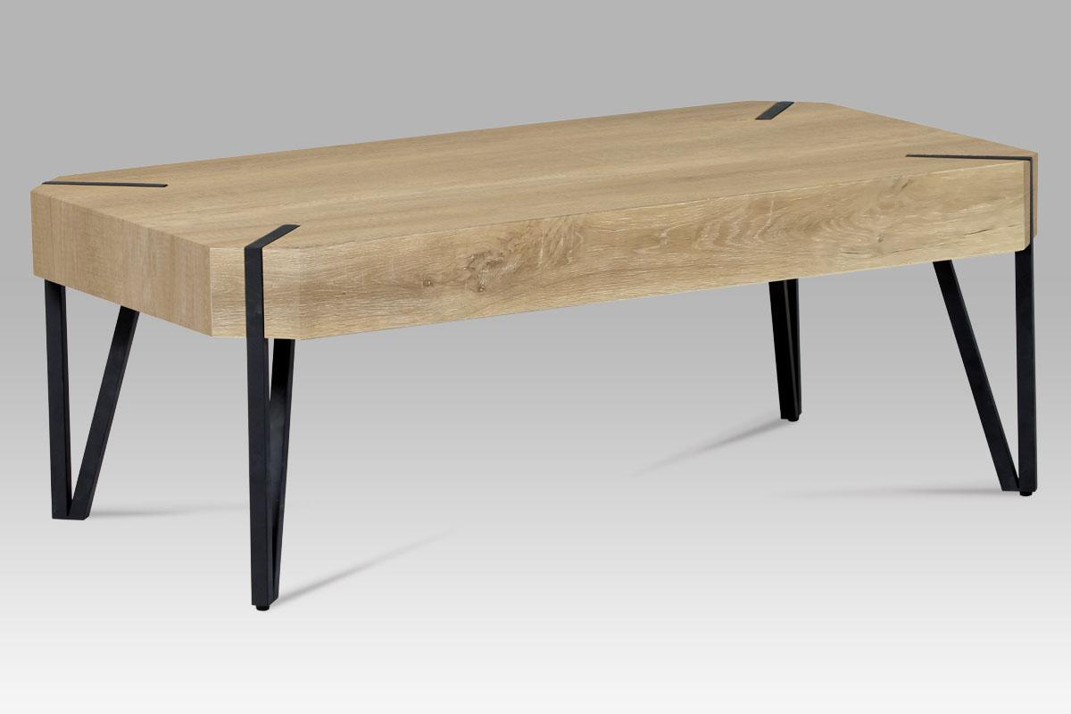 Autronic - Konferenční stolek 110x60x43, MDF bělený dub, kov černý mat - AHG-241 OAK2