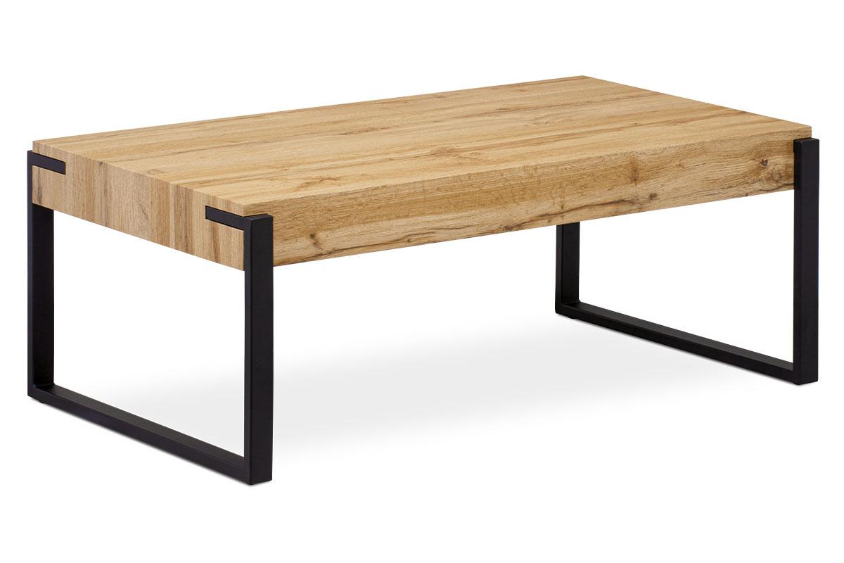 Konferenční stolek 110x60x42 cm, deska MDF dekor divoký dub tloušťka 10 cm, kov černý mat