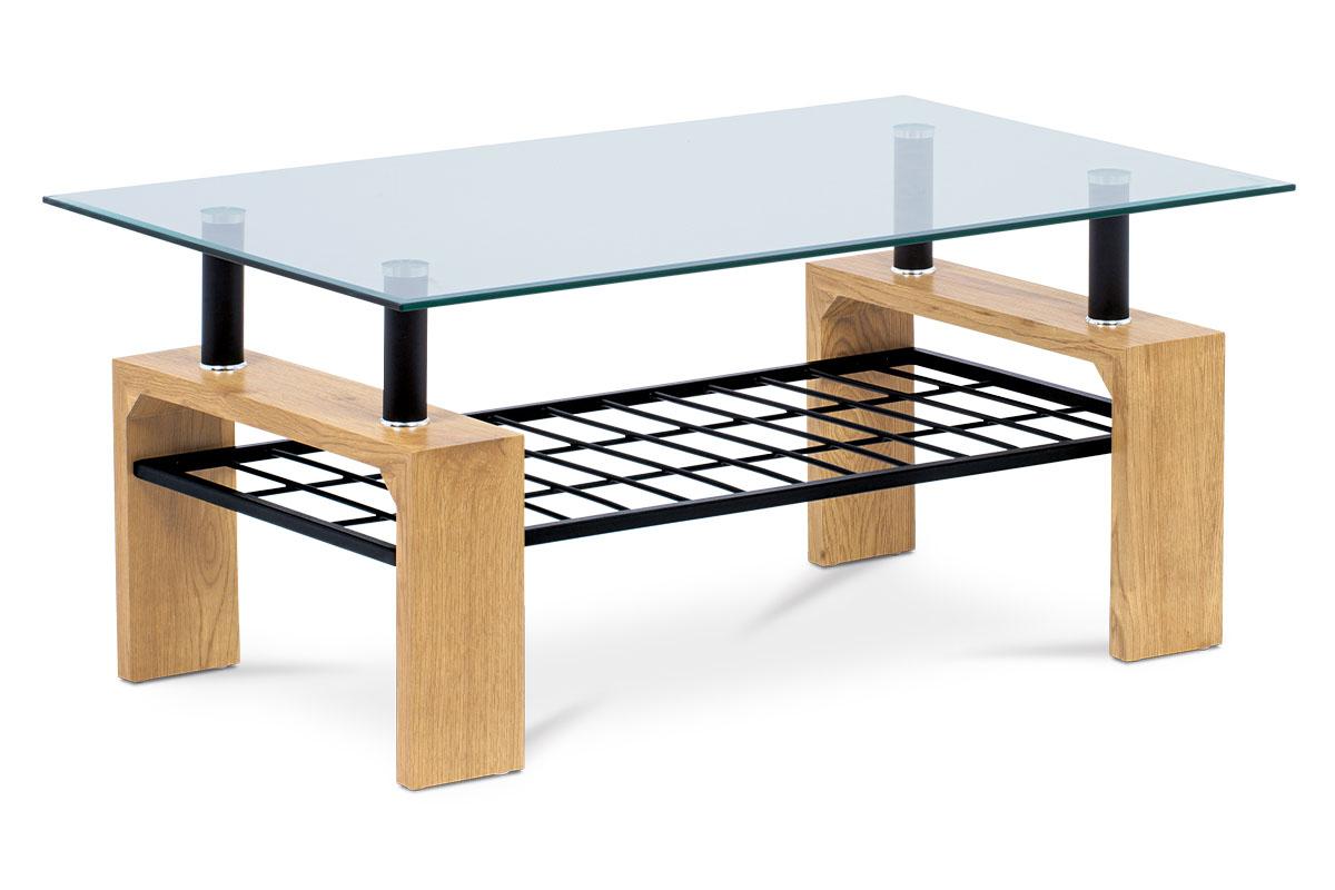 Autronic - Konferenční stolek 110x60x44, čiré tvrzené sklo, MDF dekor divoký dub, kov černá - AHG-380 OAK