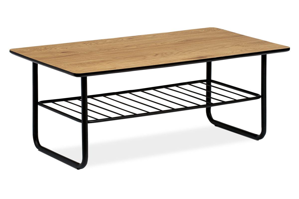 Autronic - Konferenční stolek 110x60x45, tloušťka desky 25mm, MDF dekor divoký dub, kov černý matný lak - AHG-382 OAK