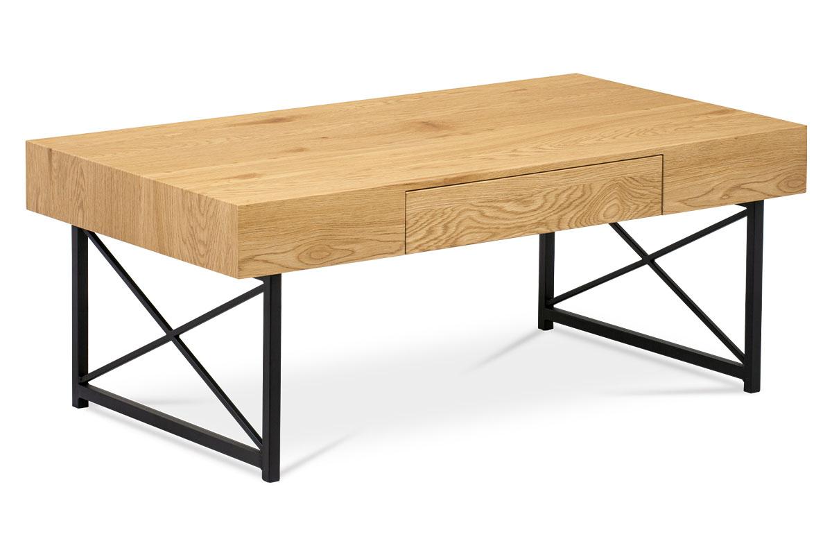 Autronic - Konferenční stolek 110x60 cm, MDF divoký dub, kov černý mat - AHG-384 OAK