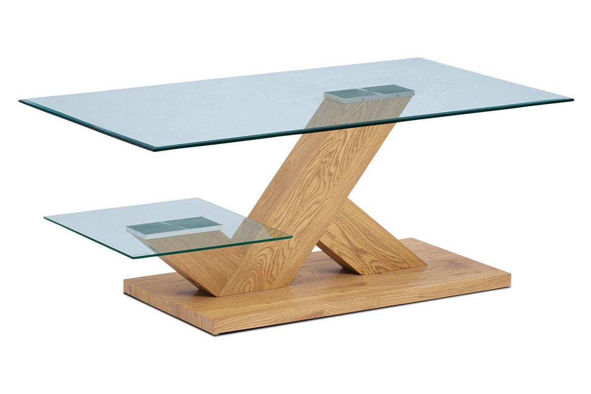 Autronic - Konferenční stolek 110x60x46, čiré tvrzené sklo, MDF + dekor divoký dub - AHG-388 OAK