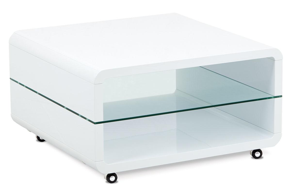 Autronic - (AHG-015 WT) Konferenční stolek 80x80x40, MDF bílý vysoký lesk, čiré sklo, 4 kolečka - AHG-615 WT