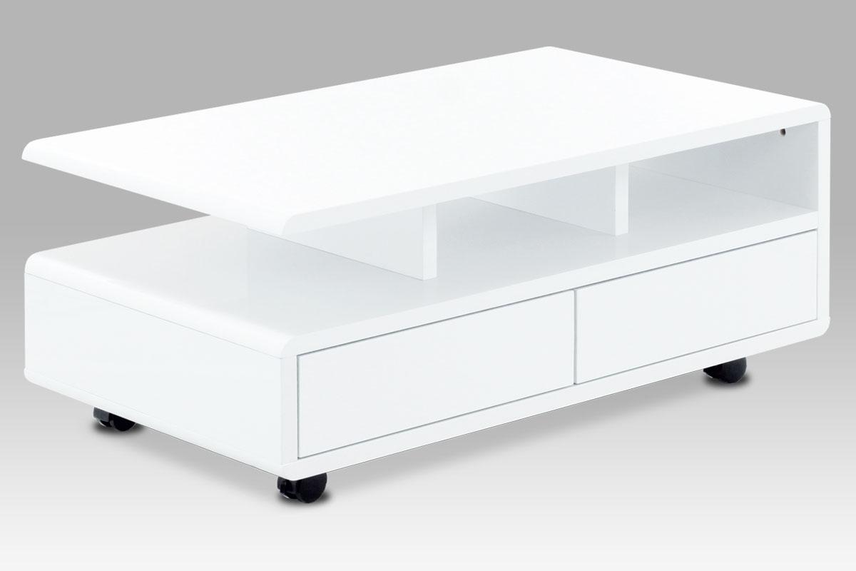Autronic - Konferenční stolek 100x60x41, MDF bílý vysoký lesk, 5 univerzální kolečka, 2 šuplíky - AHG-620 WT