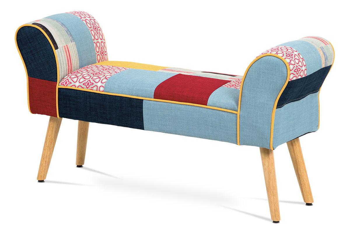 Otoman, látka patchwork, masiv kaučukovník v přírodním odstínu