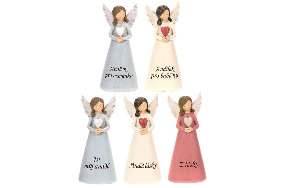 Anděl se srdcem s nápisem na šatech. Mix 5 druhů, cena za 1 kus, polyresinová de