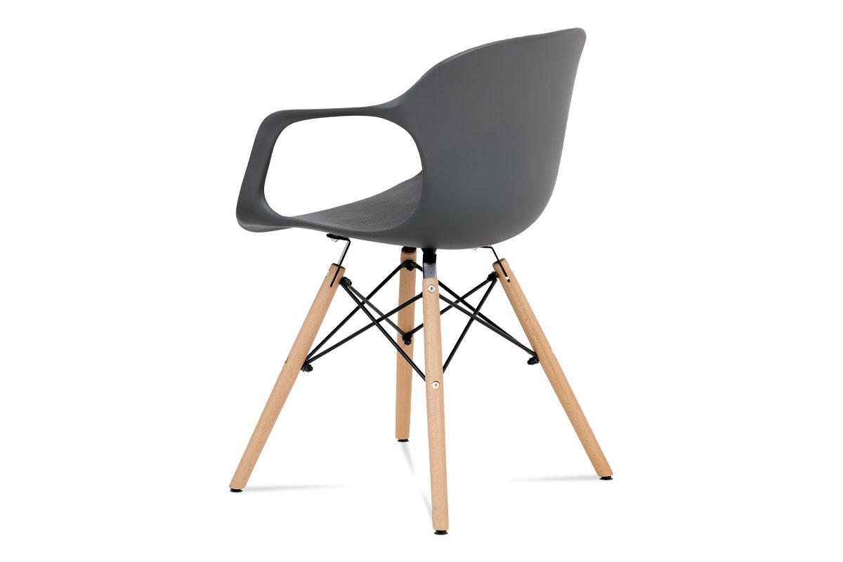 Jídelní židle, šedý strukturovaný plast / natural - ALBINA GREY