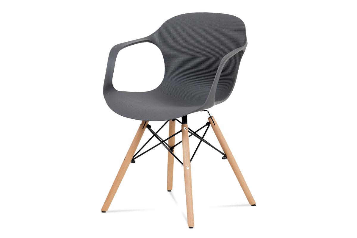 Autronic - Jídelní židle, šedý strukturovaný plast / natural - ALBINA GREY