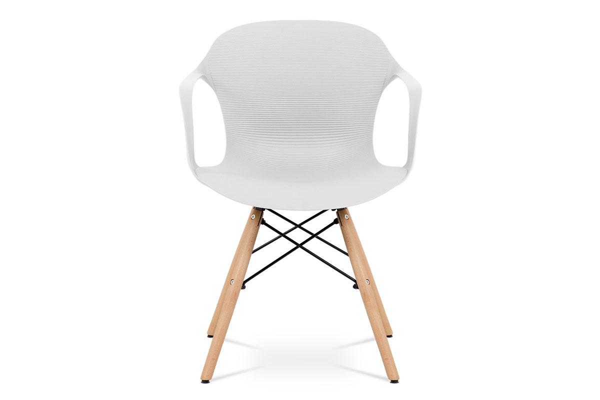 Jídelní židle bílý strukturovaný plast / natural - ALBINA WT