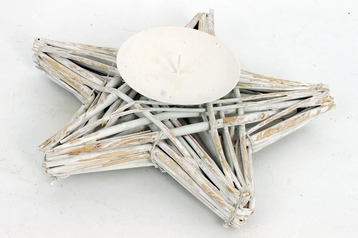 Autronic - Proutěný svícen - hvězda - barva bílá - AN002-WH
