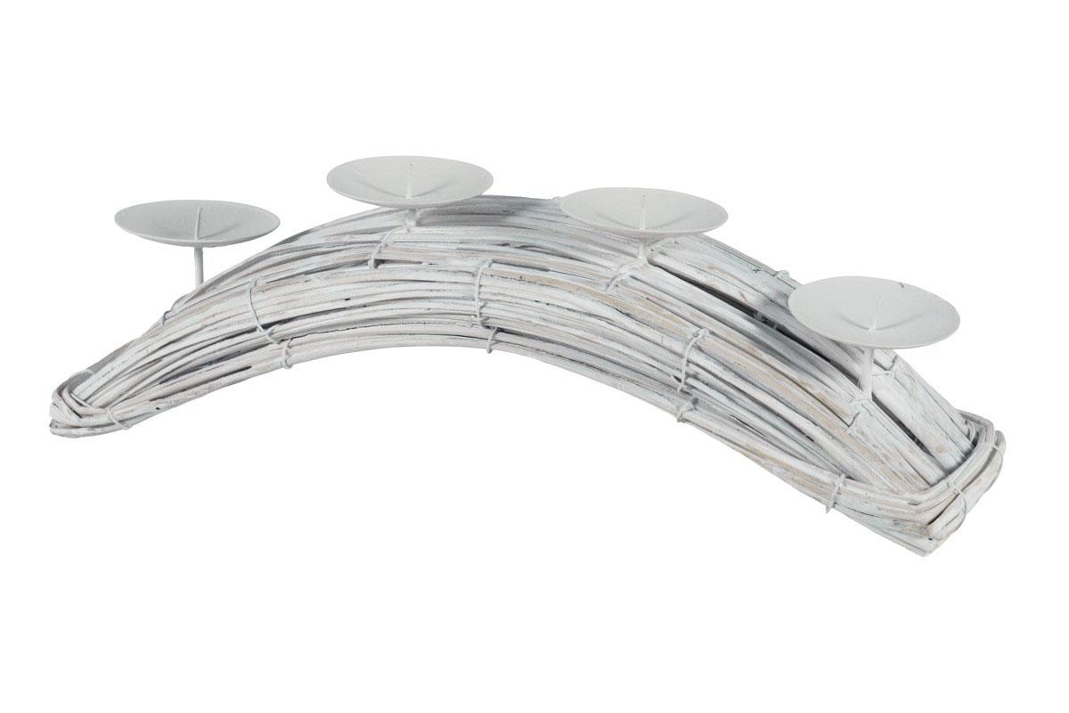 Autronic - Svícen proutěný oblouk - bílá barva - AN003B-WH