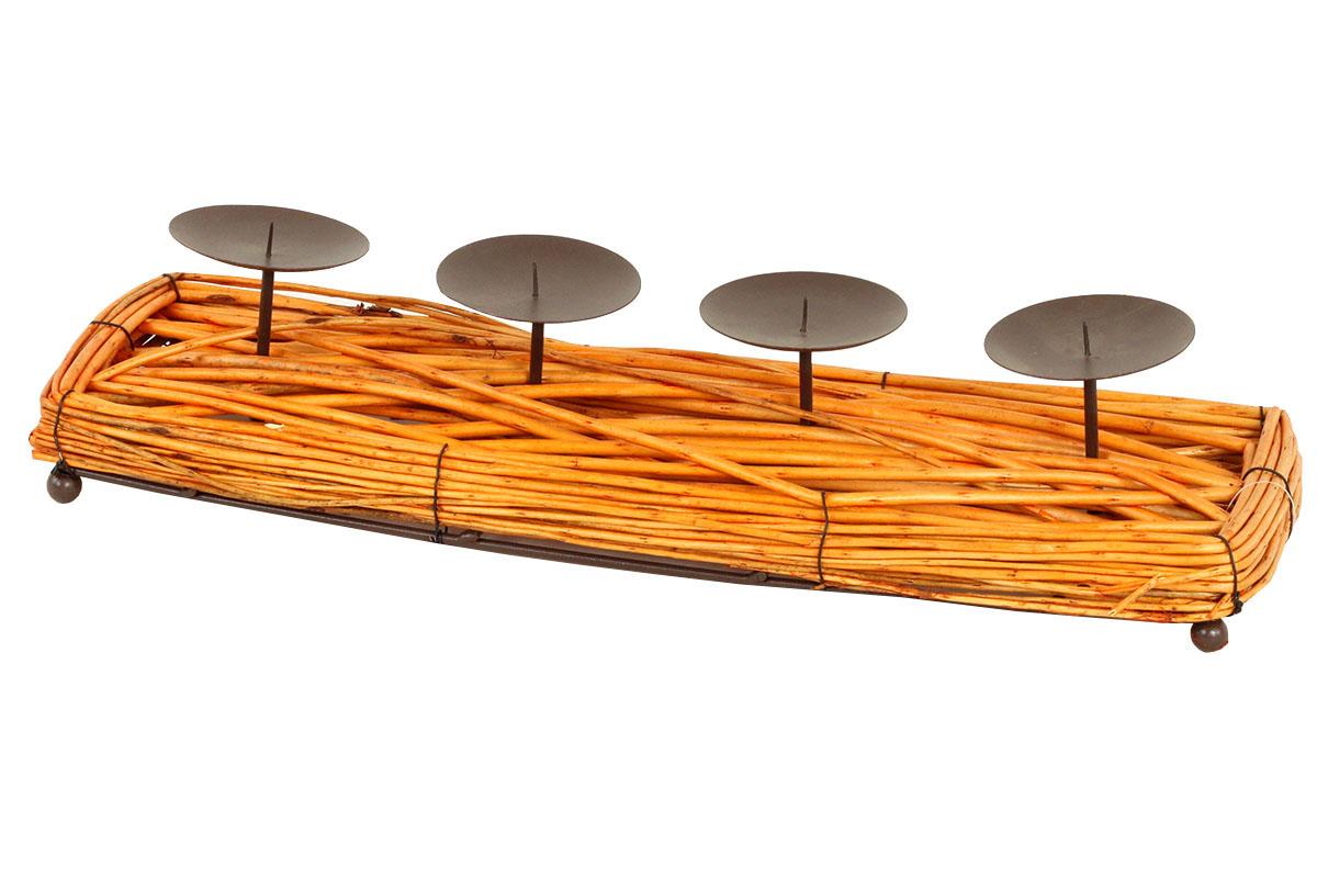 Autronic - Svícen proutěný, s bodci na svíčku obdélník, barva přírodní, adventní - AN006-NAT