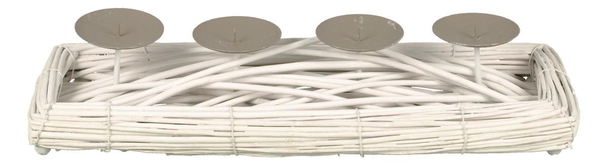 Autronic - Proutěný svícen - obdélník - barva bílá, s bodci na svíčku, adventní - AN006-WH