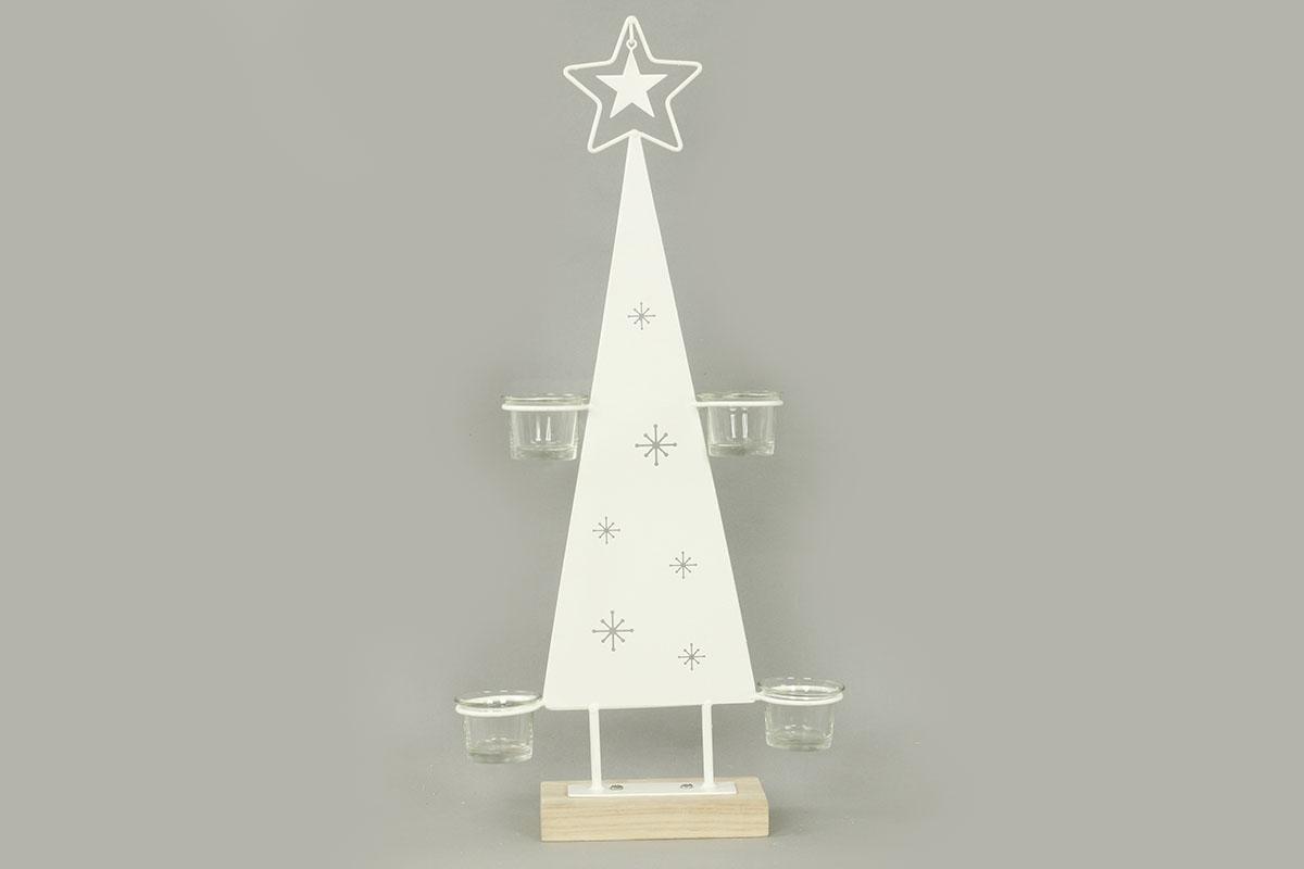 Autronic - Svícen ve tvaru stromečku, kovová vánoční dekorace - AN133