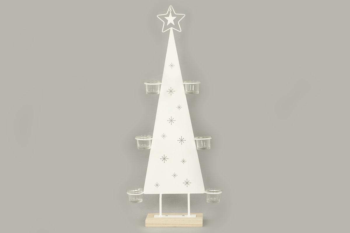 Autronic - Svícen ve tvaru stromečku, kovová vánoční dekorace - AN134