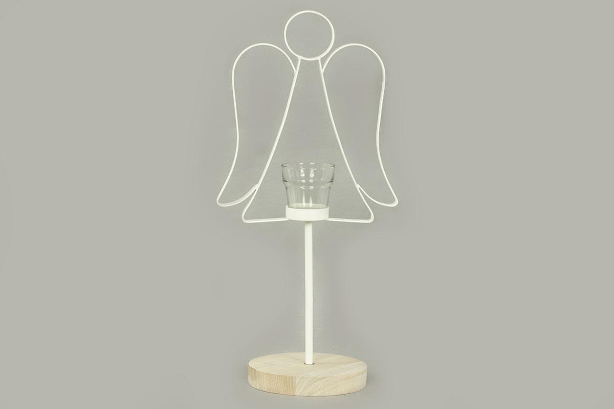 Autronic - Svícen s andělíčkem, kovová vánoční dekorace - AN140