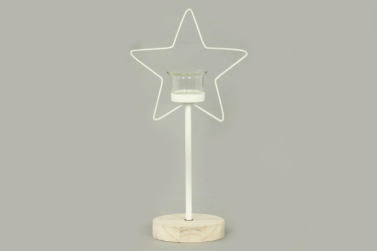Autronic - Svícen s hvězdičkou, kovová vánoční dekorace - AN142