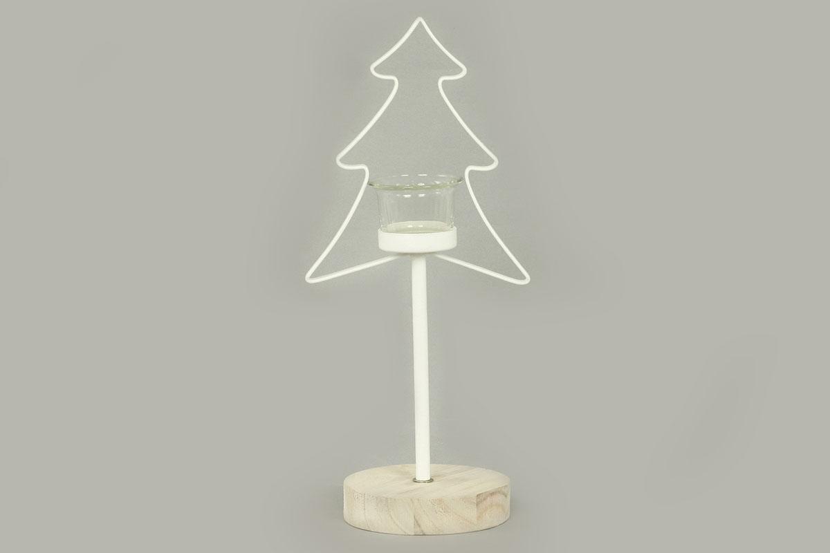 Autronic - Svícen se stromečkem, kovová vánoční dekorace - AN144