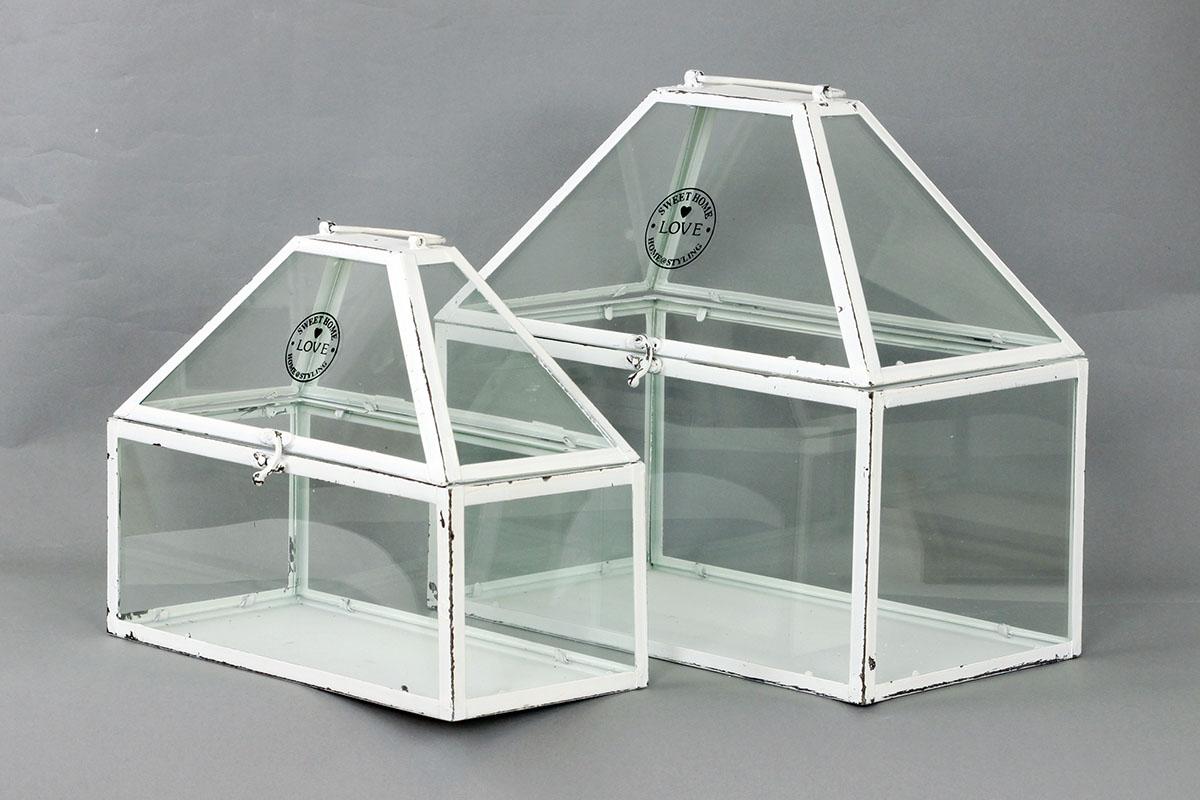 Autronic - Skleník mini, kovový se sklem, barva antik bílá, sada 2 kusy - AN777814