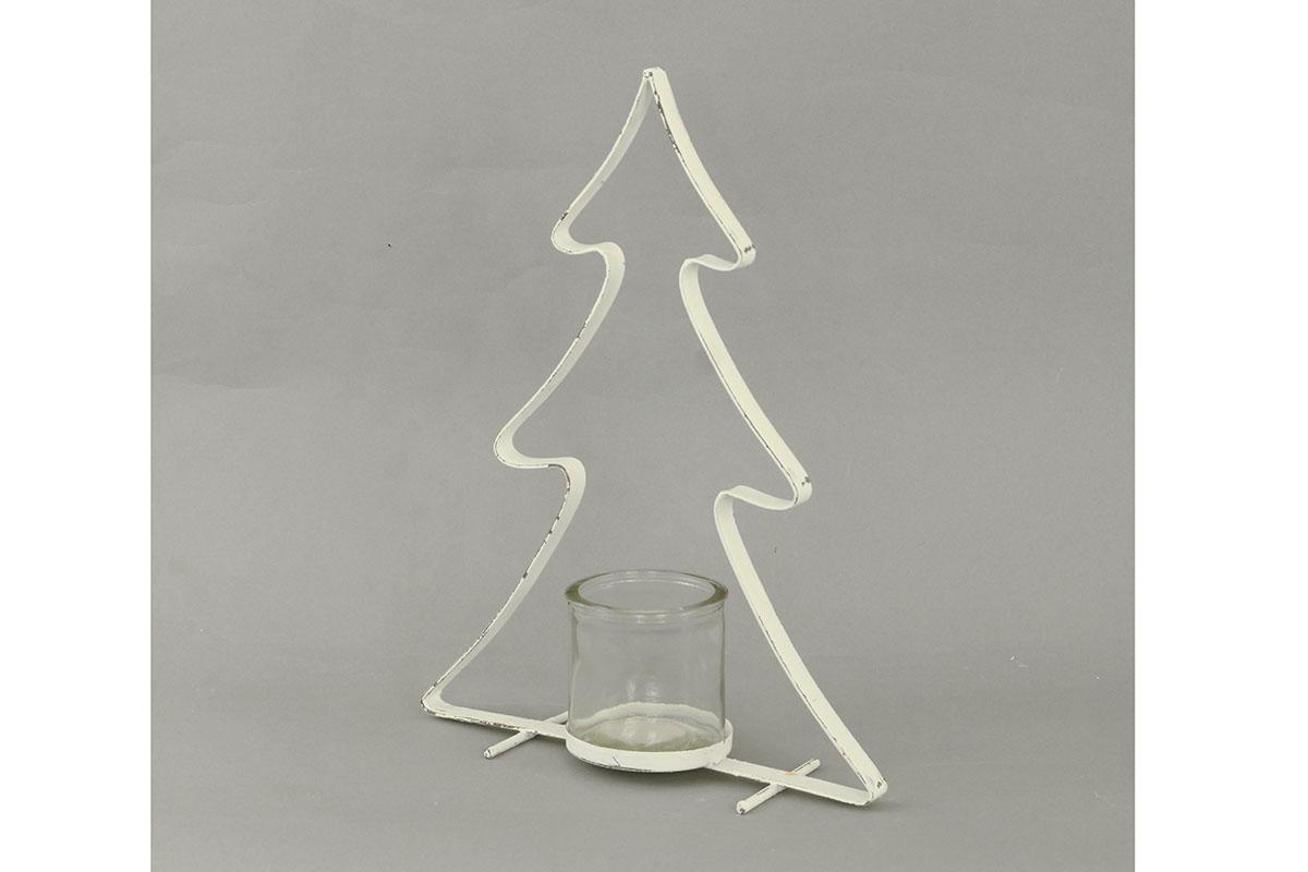 Autronic - Svícen kovový na čajovou svíčku, tvar stromku, barva bílá - AN804435