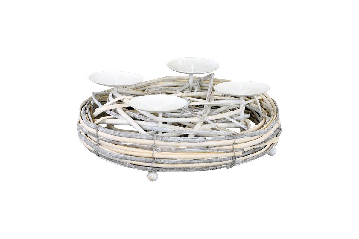 Autronic - Svícen proutí, barva antique bílá, s bodci na svíčku, adventní - AN804589