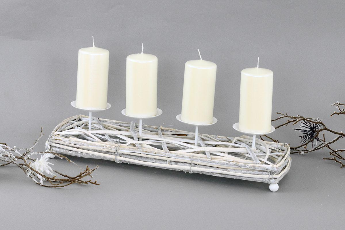 Autronic - Svícen proutí, barva antique bílá,s bodci na svíčku, adventní - AN804596