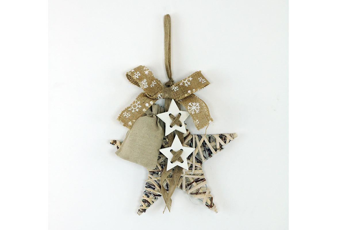 Autronic - Hvězda z proutí s dekorací a LED světlem,barva antique bílohnědá - AN804671