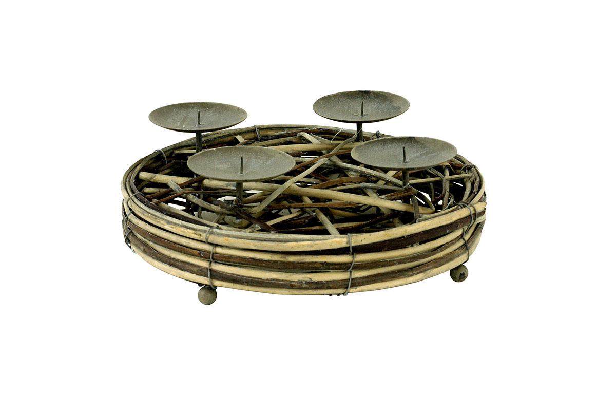Autronic - Svícen z proutí,barva antique hnědá, s bodci na svíčku, adventní - AN804718