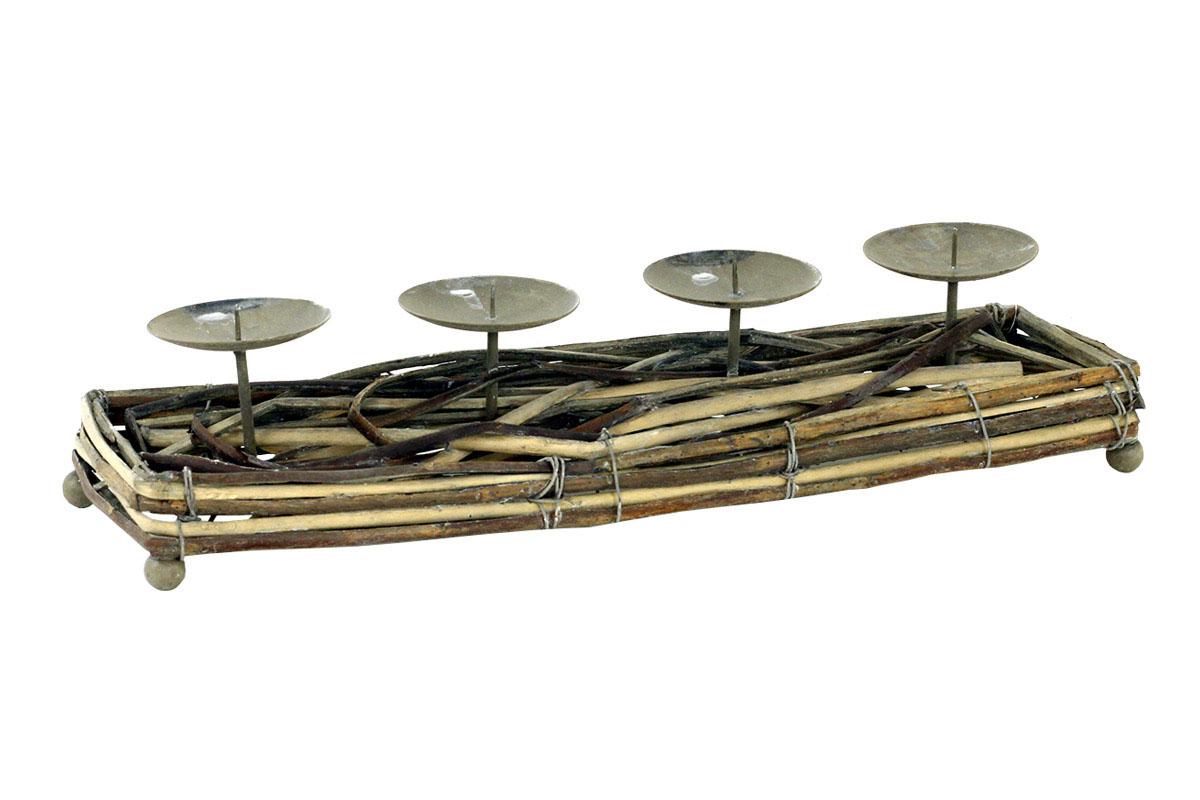 Autronic - Svícen z proutí,barva antique hnědá,s bodci na svíčku, adventní - AN804725