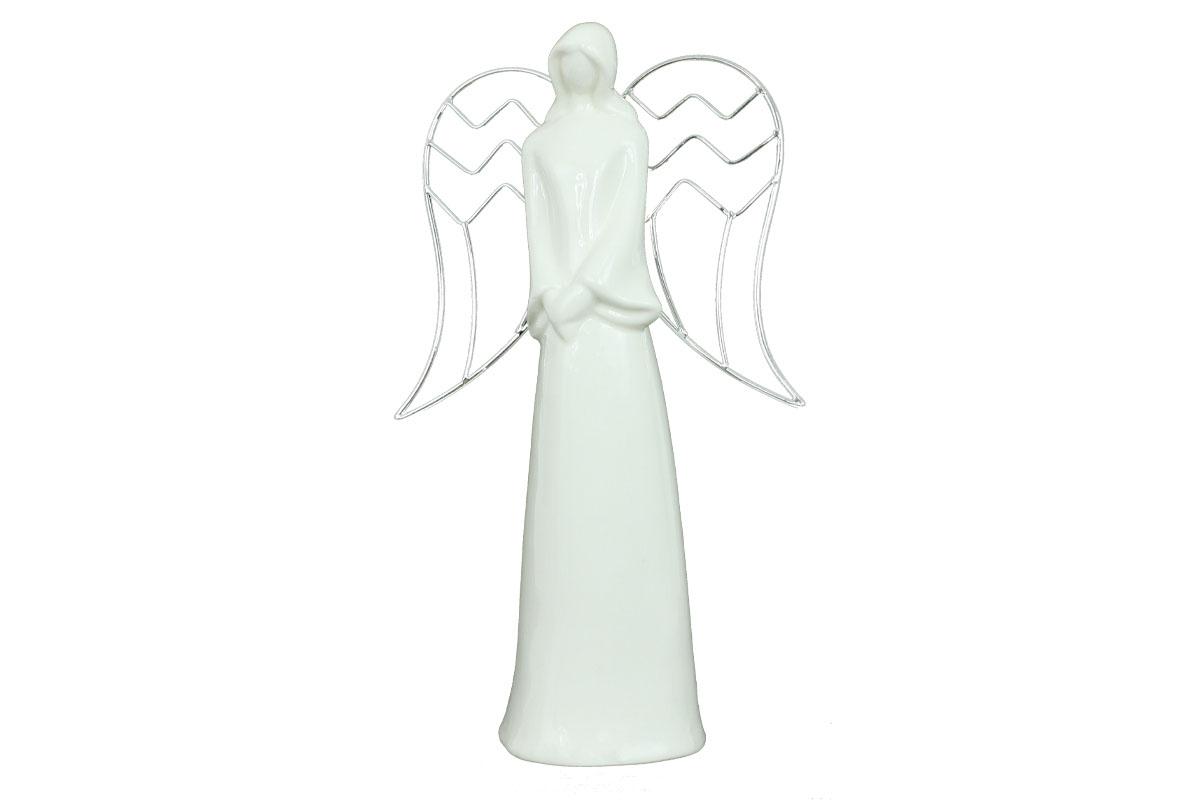 Anděl, porcelánová dekorace, bílá lesklá glazura, kovová křídla