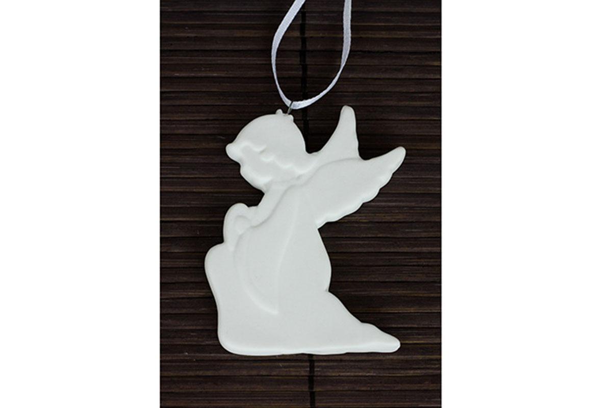 Anděl, porcelánová dekorace, bílá matná glazura, na zavěšení