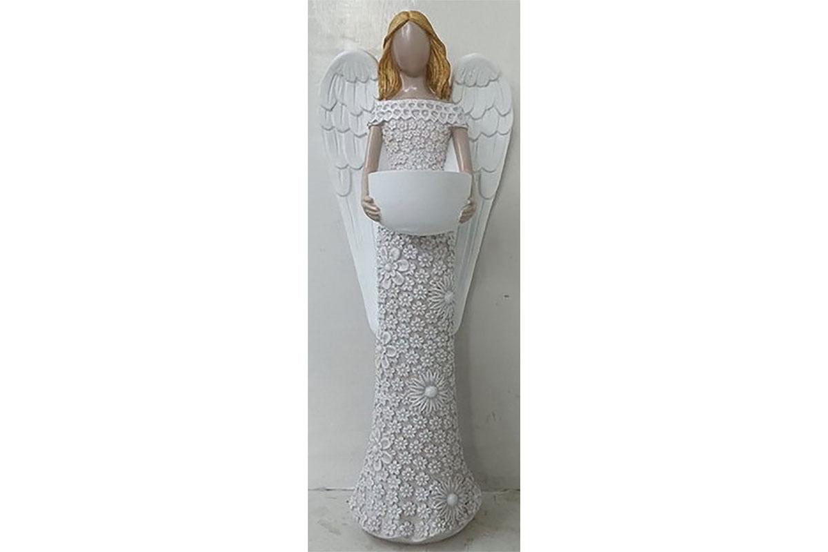 Anděl z polyresinu, svícen, barva krémová.