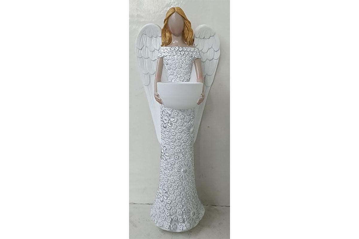 Anděl z polyresinu, svícen, barva bílá.