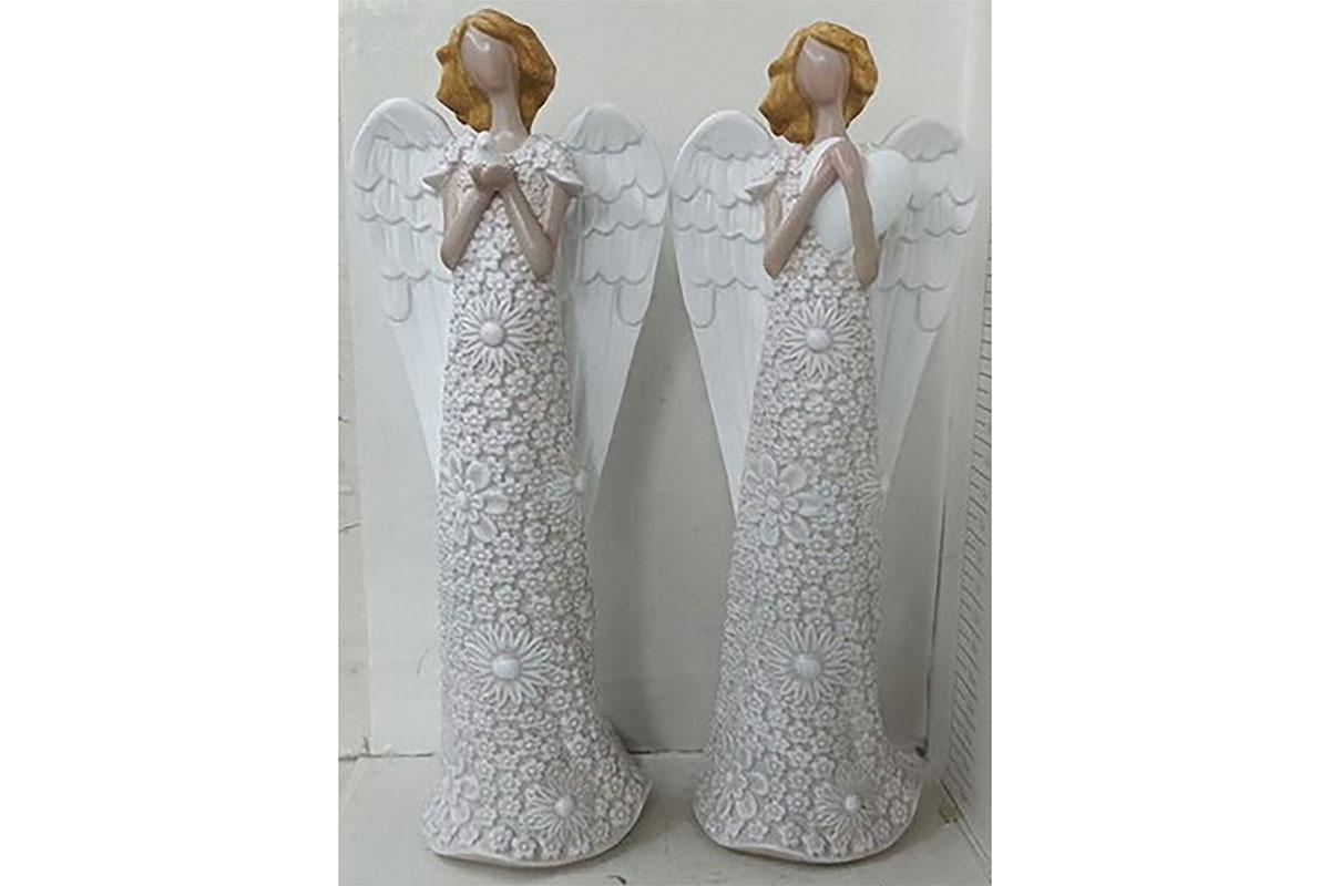Anděl v květinových šatech v krémové barvě s ptáčkem nebo srdcem, mix 2 druhů, p