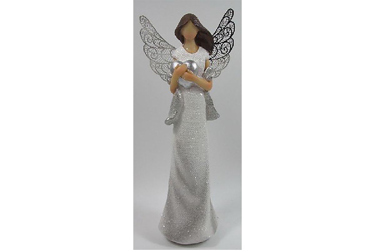 Anděl s kovovými křídly držící srdce, barva bílá glitrovaná. Polyresin. Mix 2 dr