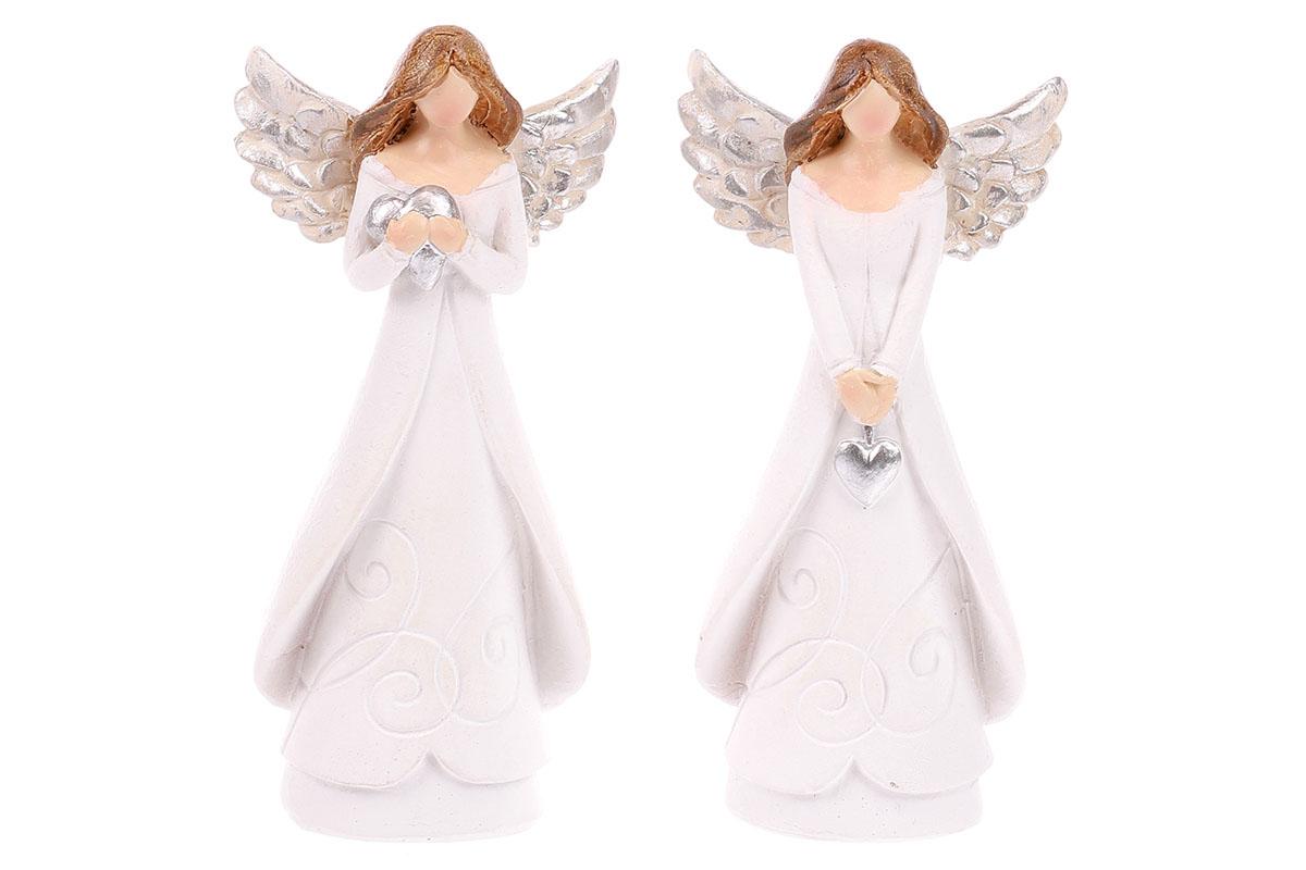 Anděl držící srdce, bílo-stříbrná kombinace, mix 2druhů. Cena za 1ks.