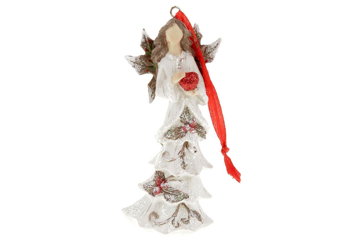 Anděl, vánoční dekorace na zavěšení z polyresinu, barva bílá