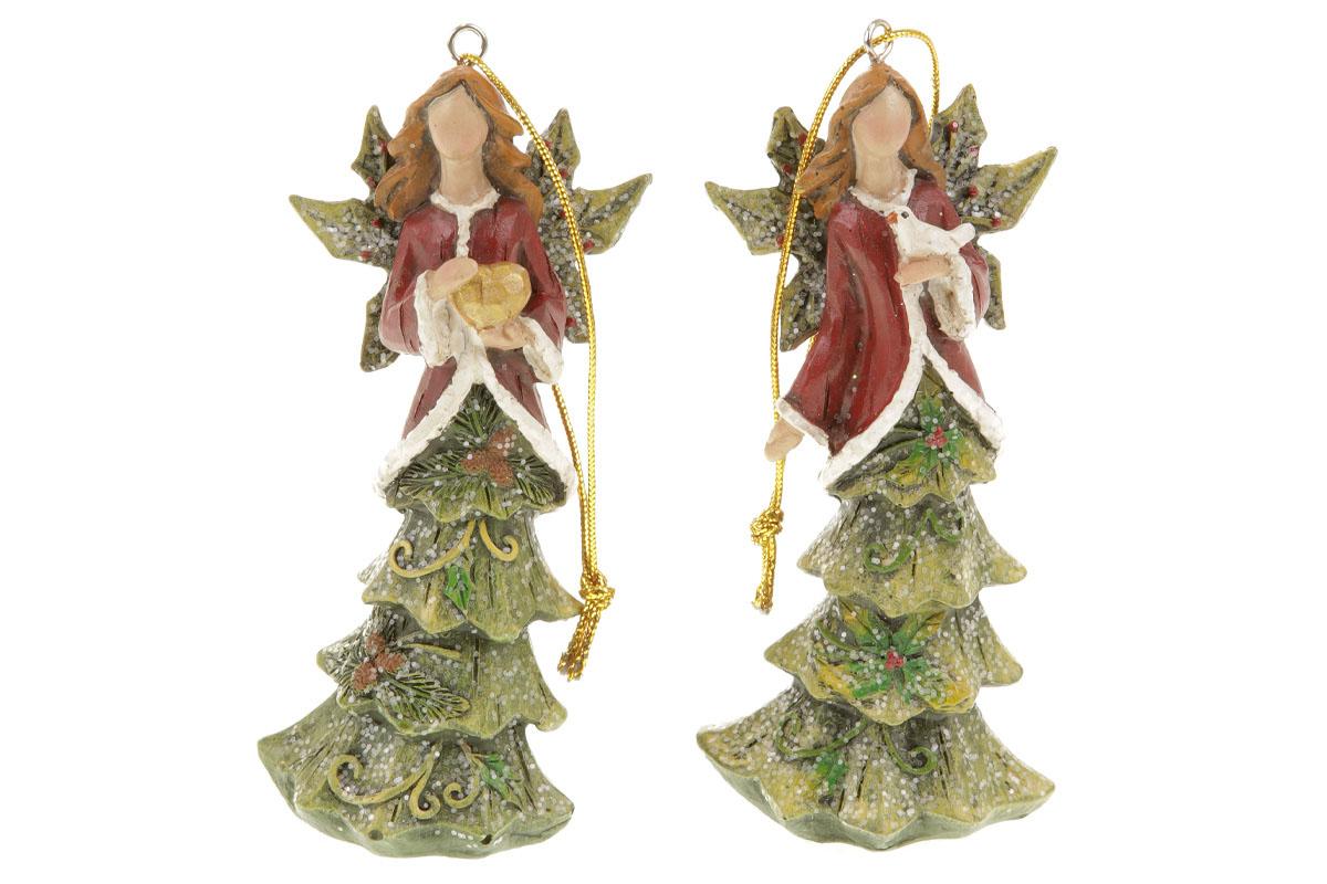 Anděl se stromečkovou sukní, vánoční dekorace na zavěšení z polyresinu, mix 2 dr