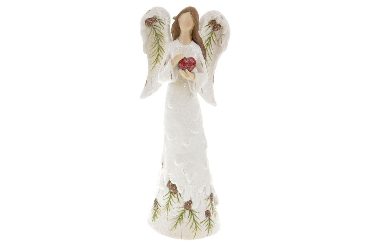 Anděl se srdíčkem, dekorace z polyresinu, barva bílá