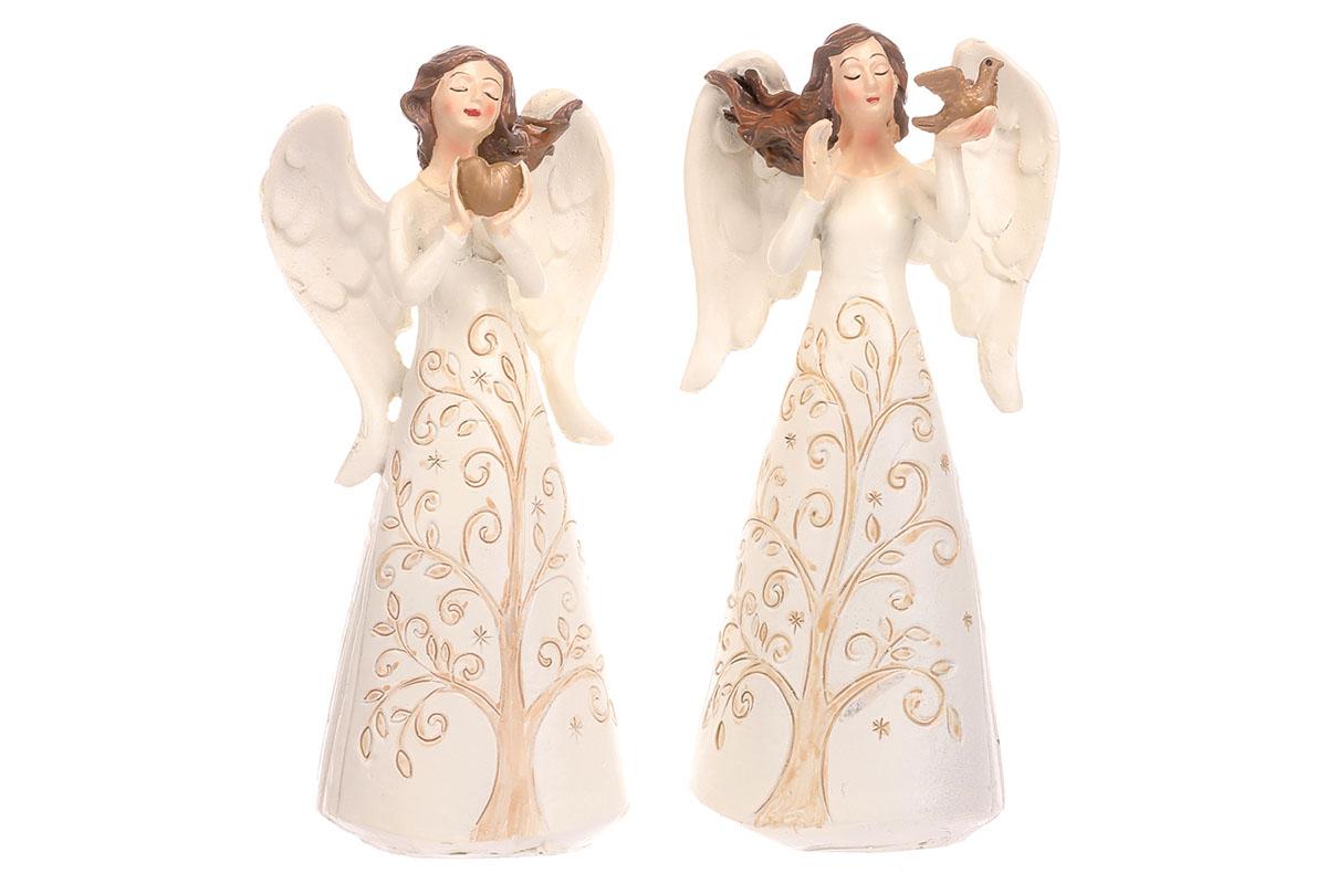 Anděl polyresinový, mix 2 druhů, strom života na šatech.