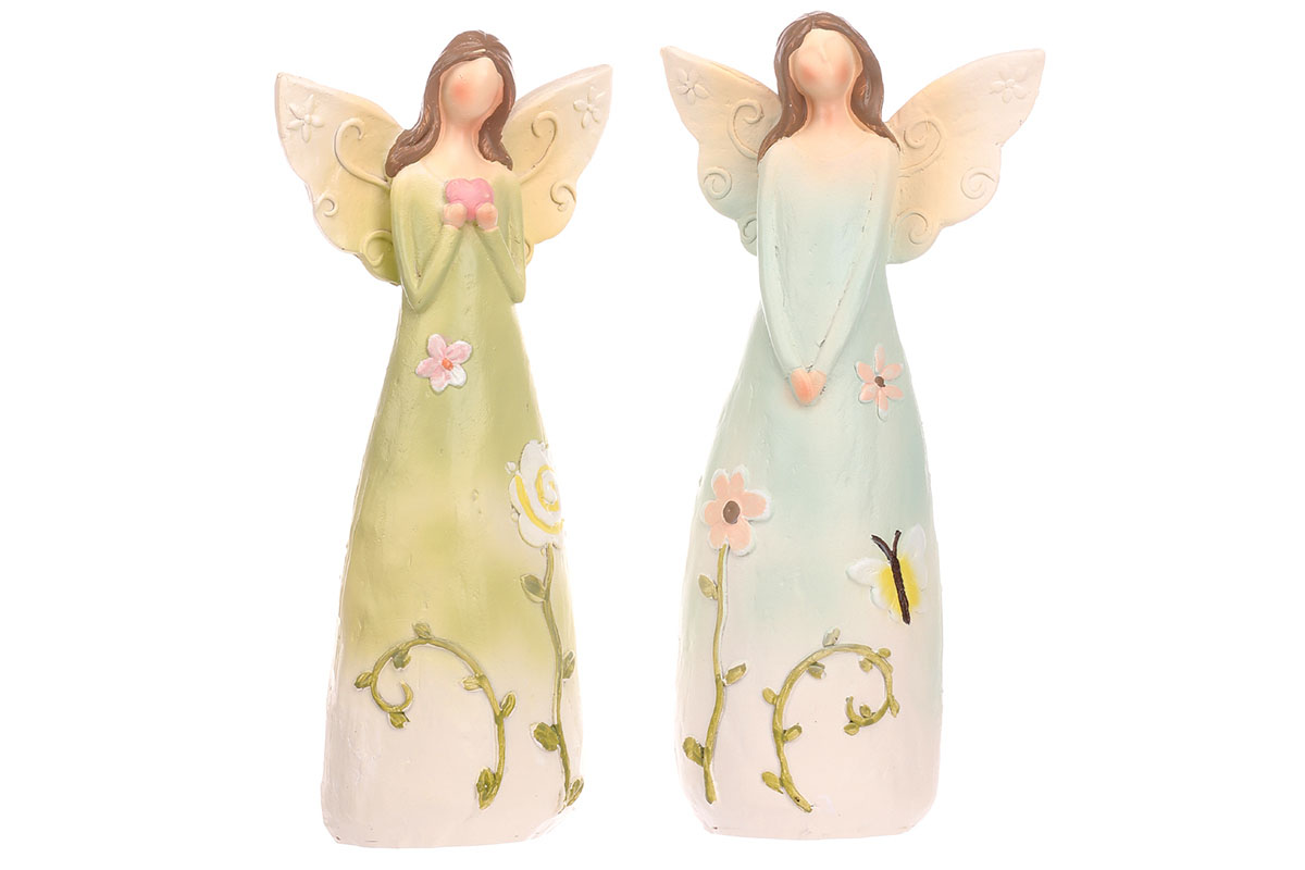 Anděl polyresinový, s květinami na šatech, mix 2 druhů, barva světle zelená a mo
