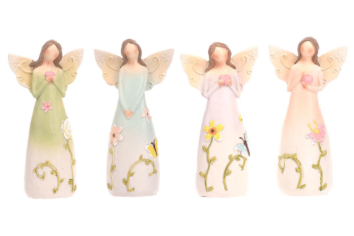Anděl polyresinový, s květinami na šatech, mix 4 druhů, barvy světlé.